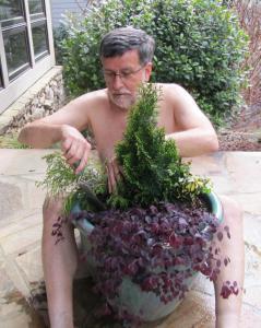 Ashton Ritchie plants his pot