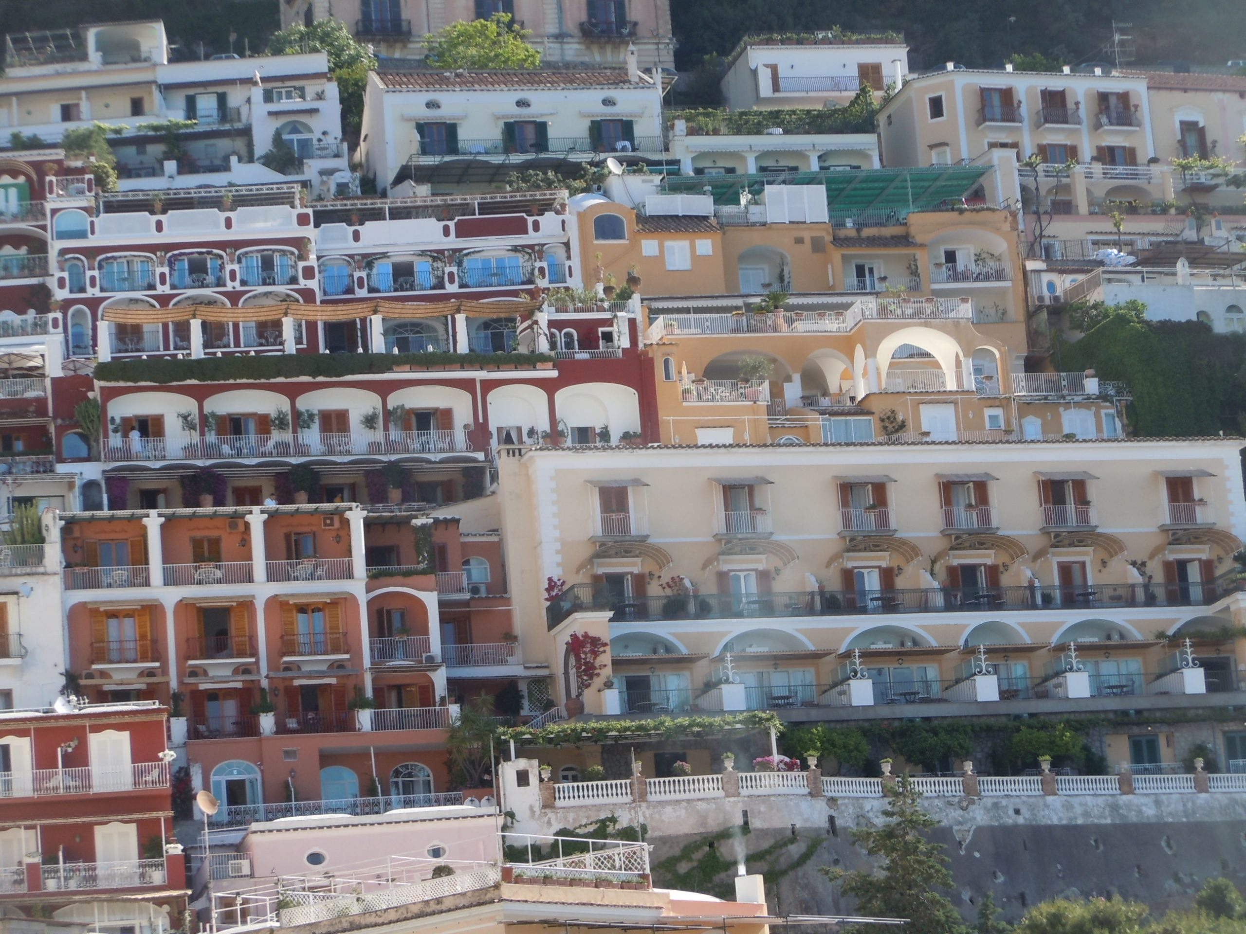 hotels and homes on the cliffs above Positano, Sicily