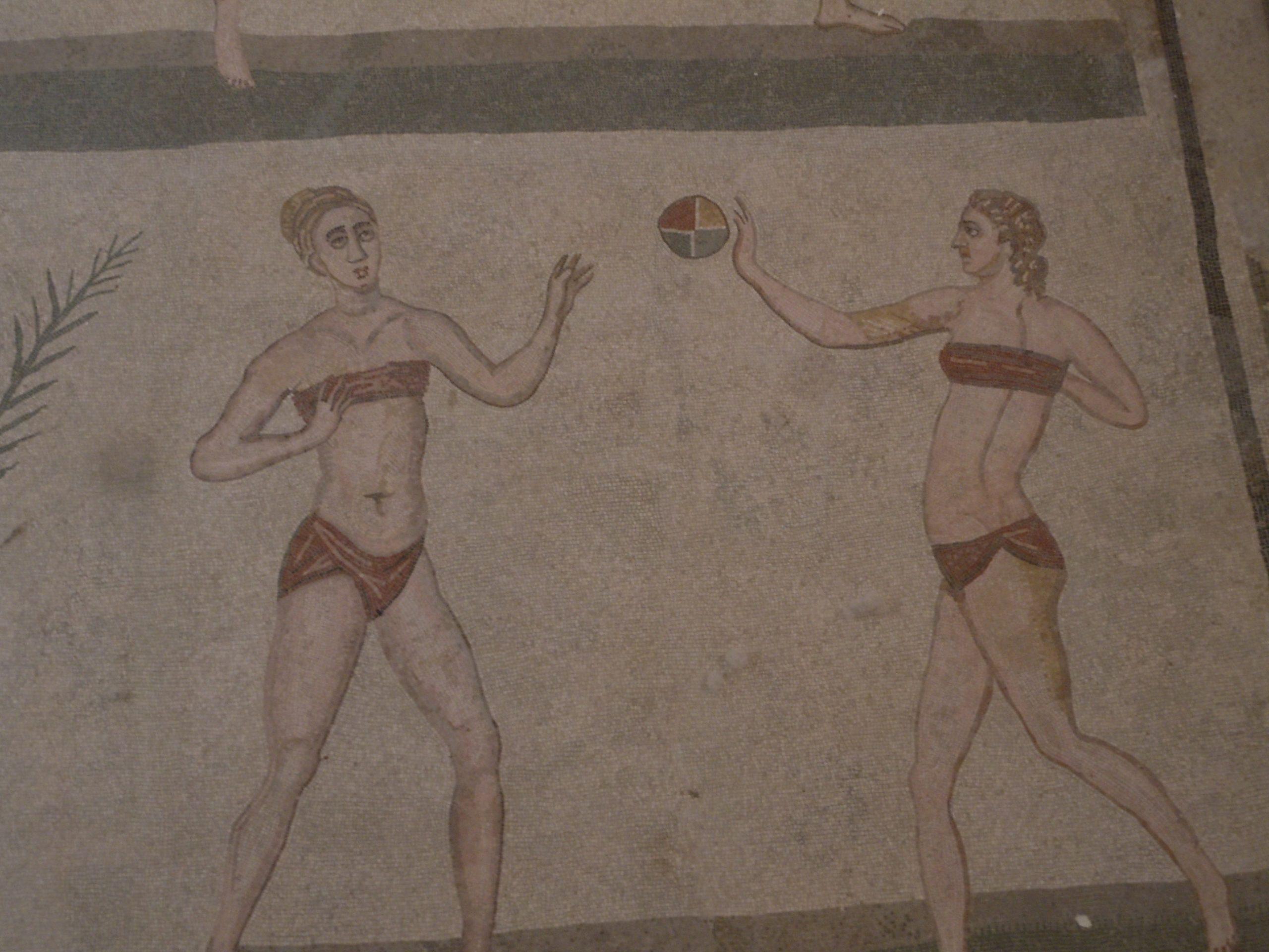 women in bikinis playing ball ( mosaic in Villa Romana del Casale, Sicily)