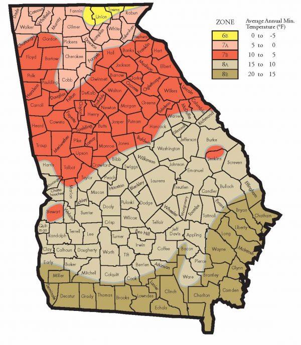 Hardiness Zones for Georgia