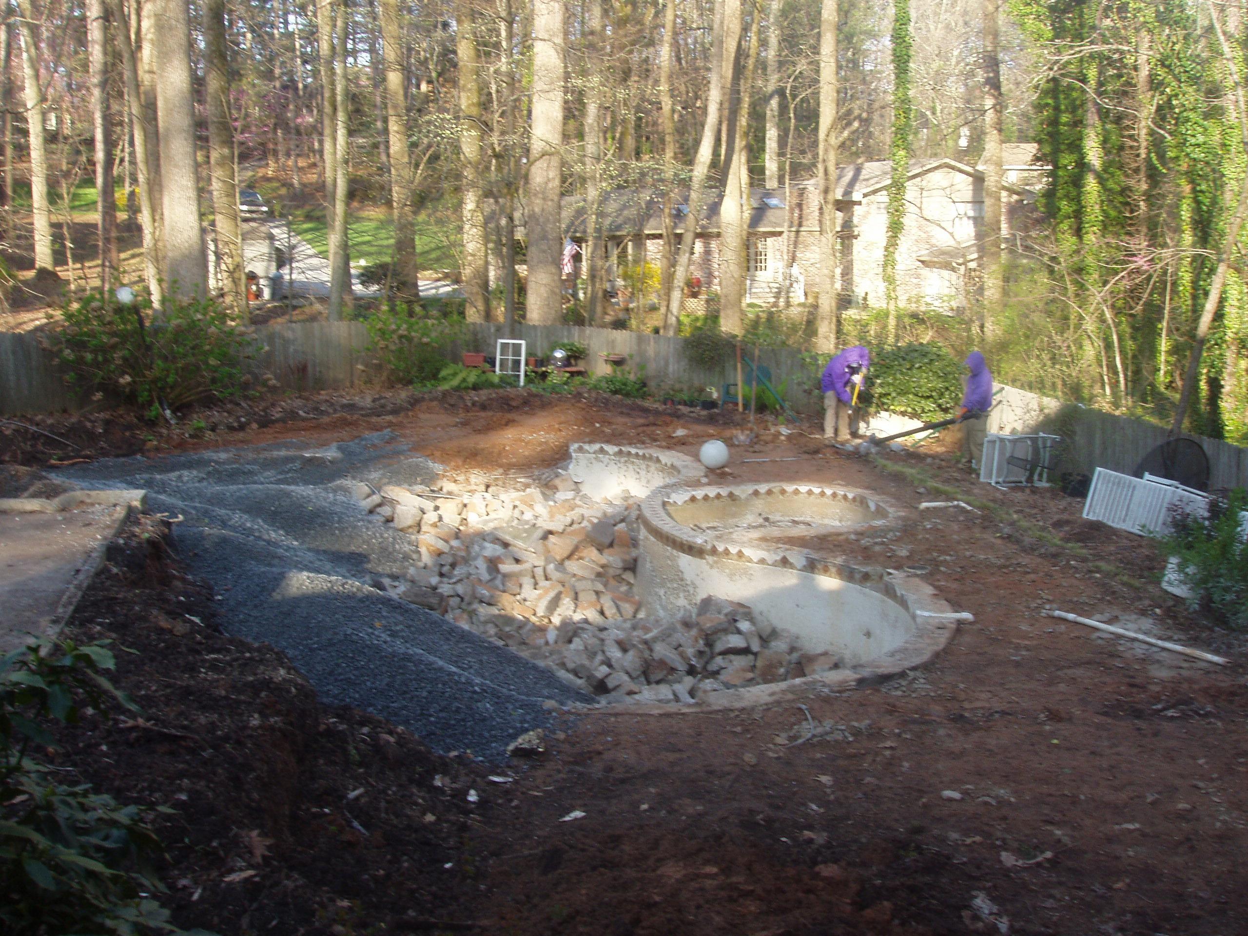 pool walls partially demo'ed